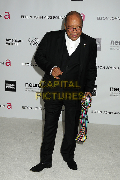 Quincy Jones.20th Annual Elton John Academy Awards Viewing Party held at West Hollywood Park, West Hollywood, California, USA..February 26th, 2012.full length black suit white shirt glasses .CAP/ADM/BP.©Byron Purvis/AdMedia/Capital Pictures.