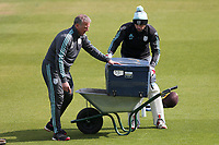 Alec Stewart (L) and Ben Foakes of Surrey with a wheelbarrow ahead of Surrey CCC vs Essex CCC, Specsavers County Championship Division 1 Cricket at the Kia Oval on 12th April 2019