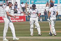 Nick Browne of Essex raises his bat to celebrate reaching his fifty during Essex CCC vs Somerset CCC, Specsavers County Championship Division 1 Cricket at The Cloudfm County Ground on 25th June 2018