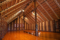 Waitangi Treaty Grounds.  Maori Meeting House Interior.
