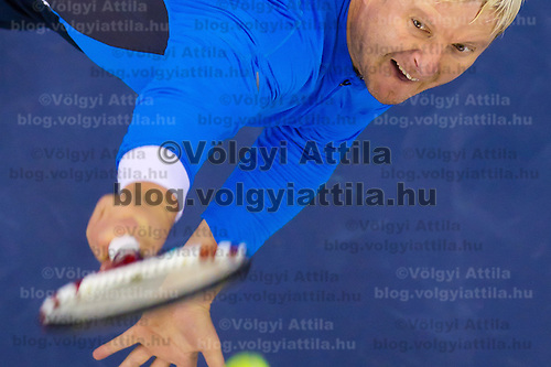 Yevgeny Kafelnikov from Russia plays an exhibition match against Goran Ivanisevic (not pictured) from Croatia during the Tennis Classics tournament in Budapest, Hungary on October 29, 2011. ATTILA VOLGYI
