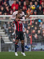 Manchester United's Chris Smalling (right) battles with Bournemouth's Callum Wilson (left) <br /> <br /> Photographer David Horton/CameraSport<br /> <br /> The Premier League - Bournemouth v Manchester United - Saturday 3rd November 2018 - Vitality Stadium - Bournemouth<br /> <br /> World Copyright &copy; 2018 CameraSport. All rights reserved. 43 Linden Ave. Countesthorpe. Leicester. England. LE8 5PG - Tel: +44 (0) 116 277 4147 - admin@camerasport.com - www.camerasport.com