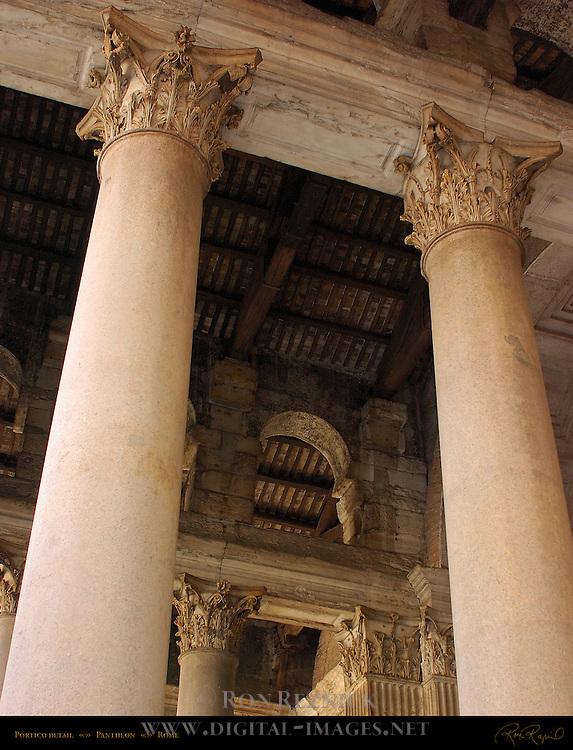 Portico detail Red Granite Columns White Pentelic Marble Pilasters Corinthian Pentelic Marble Capitals Pantheon Campus Martius Rome
