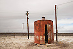 Iron tank house for generator along the railroad tracks, Churchill County, NV