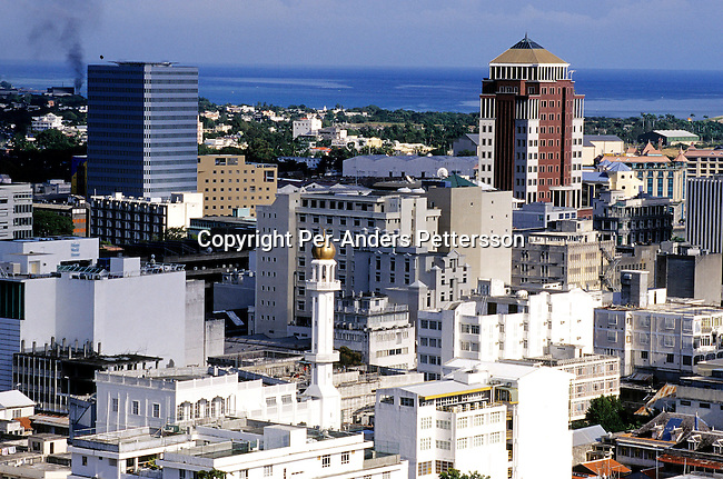 PORT LOUIS, MAURITIUS - JULY 2 :  .A view of downtown Port Louis on July 2, 2003, in Port Louis, Mauritius. The island, located in the Indian Ocean, is a popular place for tourists with unspoiled beaches and nature. .(Per-Anders Pettersson/Getty Images).