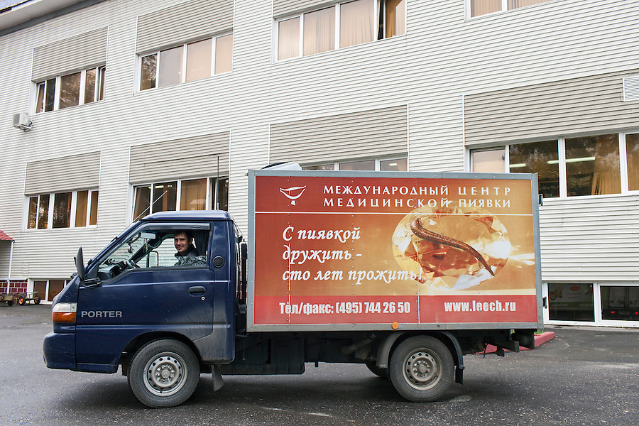Udelnaya, Russia, 05/10/2012..Company delivery truck at the International Medical Leech Centre, the largest leech farm in the world.