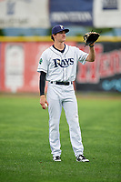 Princeton Rays right fielder Beau Brundage (16) warms up before the second game of a doubleheader against the Greeneville Reds on July 25, 2018 at Hunnicutt Field in Princeton, West Virginia.  Greeneville defeated Princeton 8-7.  (Mike Janes/Four Seam Images)