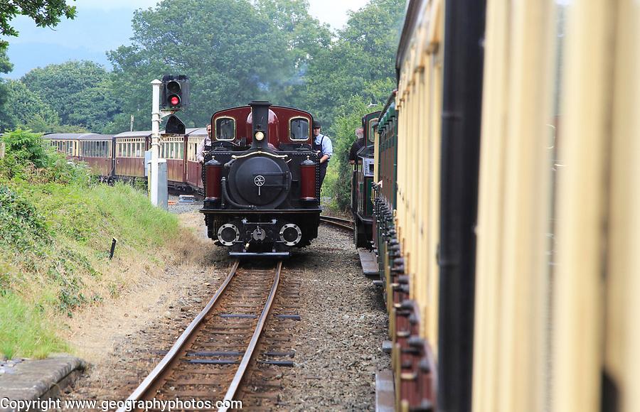 Steam train on the Ffestiniog railway, Gwynedd, north west Wales, UK