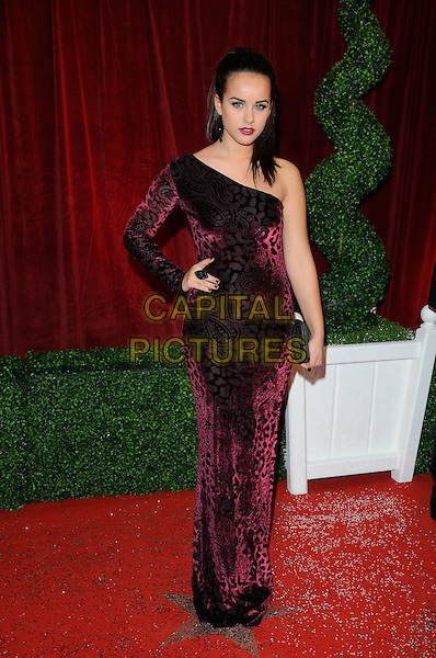 Georgia May Foote.Attending the British Soap Awards 2012.at the London Television Centre, London, England, UK, 28th April 2012..arrivals full length  one shoulder sleeve red black print velvet dress paisley animal clutch bag long maxi .CAP/CAN.©Can Nguyen/Capital Pictures.