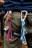 Instructor's belt with carabiners.  State junior school trip to Outdoor Activities Centre.  .