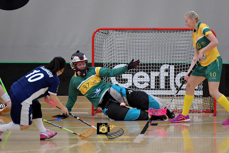 Australia's Sarah Moulton in action during the World Floorball Championships 2017 Qualification for Asia Oceania Region Final - Australia v Japan at ASB Sports Centre , Wellington, New Zealand on Sunday 5 February 2017.<br /> Photo by Masanori Udagawa<br /> www.photowellington.photoshelter.com.