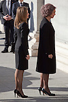 Queen Sofia of Spain and Princess Letizia of Spain attend the 11M March 11, 2004 terrorist attempt remember mass at Almudena Cathedral in Madrid, Spain. March 11, 2014. (ALTERPHOTOS/Victor Blanco)