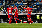 10th January 2018, Santiago Bernabeu, Madrid, Spain; Copa del Rey football, round of 16, 2nd leg, Real Madrid versus Numancia; Guillermo Fernandez (Numancia) celebrates his goal which made it 1-1