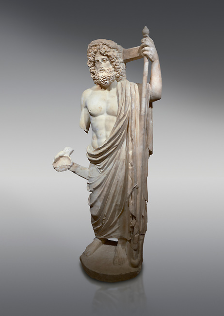 Roman statue of Asclepius. Marble. Perge. 2nd century AD. Inv no .Antalya Archaeology Museum; Turkey.<br /> <br /> Asclepius was a hero and god of medicine in ancient Greek religion and mythology. Asclepius represents the healing aspect of the medical arts, one of his his daughters is Hygieia