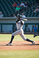 Peoria Javelinas left fielder Buddy Reed (85), of the San Diego Padres organization, follows through on his swing during an Arizona Fall League game against the Mesa Solar Sox at Sloan Park on October 24, 2018 in Mesa, Arizona. Mesa defeated Peoria 4-3. (Zachary Lucy/Four Seam Images)