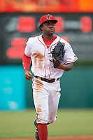 Florida Fire Frogs center fielder Anfernee Seymour (2) jogs to the dugout during a game against the St. Lucie Mets on July 23, 2017 at Osceola County Stadium in Kissimmee, Florida.  St. Lucie defeated Florida 3-2.  (Mike Janes/Four Seam Images)
