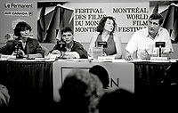 Montreal, Canada - File Photo - French filmmaker Jean-Claude Brisseau (R) news conference at the World Film Festival, August 31, 1988 for his movie DE BRUIT ET DE FUREUR.<br /> <br /> Photo :  Agence Quebec Presse - Pierre Roussel