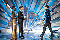 Lupita Nyong'o and Kumail Nanjiani present the Oscar&reg; for achievement in production design to  Paul Denham Austerberry, Shane Vieau, and Jeffrey A. Melvin during the live ABC Telecast of The 90th Oscars&reg; at the Dolby&reg; Theatre in Hollywood, CA on Sunday, March 4, 2018.<br /> *Editorial Use Only*<br /> CAP/PLF/AMPAS<br /> Supplied by Capital Pictures
