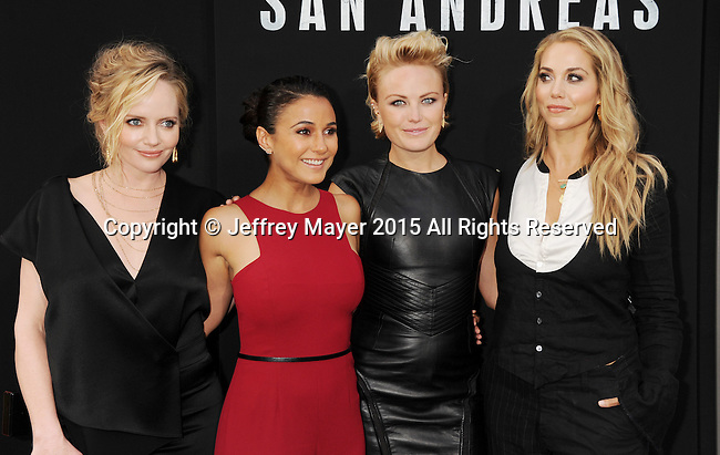 HOLLYWOOD, CA - MAY 26: (L-R) Actresses Marley Shelton, Emmanuelle Chriqui, Malin Akerman and Elizabeth Berkley  arrive at the 'San Andreas' - Los Angeles Premiere at TCL Chinese Theatre IMAX on May 26, 2015 in Hollywood, California.