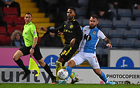 Blackburn Rovers' Adam Armstrong battles with Brentford's Rico Henry<br /> <br /> Photographer Dave Howarth/CameraSport<br /> <br /> The EFL Sky Bet Championship - Blackburn Rovers v Brentford - Wednesday 27th November 2019 - Ewood Park - Blackburn<br /> <br /> World Copyright © 2019 CameraSport. All rights reserved. 43 Linden Ave. Countesthorpe. Leicester. England. LE8 5PG - Tel: +44 (0) 116 277 4147 - admin@camerasport.com - www.camerasport.com