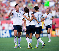 Sydney Leroux, Abby Wambach, Carli Lloyd.  The USWNT defeated Brazil, 4-1, at an international friendly at the Florida Citrus Bowl in Orlando, FL.