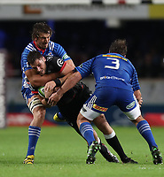 DURBAN, SOUTH AFRICA - MAY 27: Eben Etzebeth (vice-captain) of the DHL Stormers holds up Ruan Botha of the Cell C Sharks during the Super Rugby match between Cell C Sharks and DHL Stormers at Growthpoint Kings Park on May 27, 2017 in Durban, South Africa. Photo by Steve Haag / stevehaagsports.com