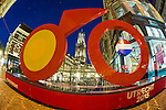 Nederland, Utrecht , 17-06-2014, Grand V&eacute;lo unveiled<br /> From today on a gigantic Le Tour Utrecht bike decorates the ancient Stadhuisbrug in Utrecht. Start Tour de France 2015 van uit Utrecht. This symbol for Le Grand D&eacute;part will remain on this beautiful spot in the centre of Utrecht until July 2015.<br /> foto Michael Kooren/Hollandse Hoogte