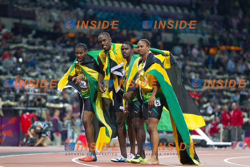 Team Jamaica Nesta Carter (JAM), Michael Frater (JAM), Yohan Blake (JAM), Usain Bolt (JAM) after Men's 4 x 100m Relay Final at the 2012 Summer Olympics at Olympic Stadium, London, United Kingdom on 2012/08/11..PhotoCredit: Insidefoto /  EXPA/ Johann Groder