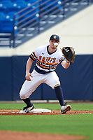 Canisius College Golden Griffins first baseman Ryan Stekl (15) stretches for a throw during the first game of a doubleheader against the Michigan Wolverines on February 20, 2016 at Tradition Field in St. Lucie, Florida.  Michigan defeated Canisius 6-2.  (Mike Janes/Four Seam Images)
