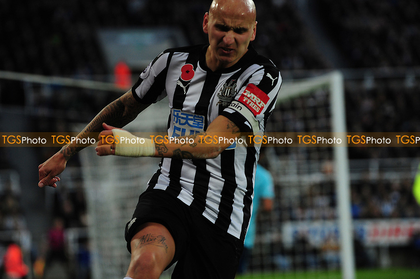 Jonjo Shelvey of Newcastle United kicks an advertising board in frustration during Newcastle United vs AFC Bournemouth, Premier League Football at St. James' Park on 4th November 2017