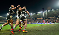 Picture by Allan McKenzie/SWpix.com - 19/04/2018 - Rugby League - Betfred Super League - Hull FC v Leeds Rhinos - KC Stadium, Kingston upon Hull, England - Jake Connor is congratulated on scoring a try against Leeds.