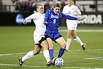02 December 2011: Duke's Kelly Cobb (9) and Wake Forest's Caralee Keppler (left). The Duke University Blue Devils defeated the Wake Forest University Demon Deacons 4-1 at KSU Soccer Stadium in Kennesaw, Georgia in an NCAA Division I Women's Soccer College Cup semifinal game.