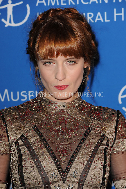 WWW.ACEPIXS.COM <br /> November 21, 2013 New York City<br /> <br /> Florence Welch attends the American Museum of Natural History's 2013 Museum Gala at American Museum of Natural History on November 21, 2013 in New York City.<br /> <br /> Please byline: Kristin Callahan  <br /> <br /> ACEPIXS.COM<br /> Ace Pictures, Inc<br /> tel: (212) 243 8787 or (646) 769 0430<br /> e-mail: info@acepixs.com<br /> web: http://www.acepixs.com