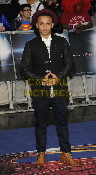 Aston Merrygold of JLS<br /> 'Man Of Steel' UK film premiere, Empire cinema, Leicester Square, London, England.<br /> 12th June 2013<br /> full length top black white jacket leather sleeves military blue trousers maroon hat <br /> CAP/CAN<br /> &copy;Can Nguyen/Capital Pictures