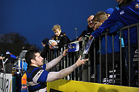 Nathan Charles of Bath Rugby signs autographs for supporters after the match. Anglo-Welsh Cup match, between Bath Rugby and Newcastle Falcons on January 27, 2018 at the Recreation Ground in Bath, England. Photo by: Patrick Khachfe / Onside Images