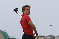 Robert Moran (Castle) on the 17th tee during Round 2 of the North of Ireland Amateur Open Championship 2019 at Portstewart Golf Club, Portstewart, Co. Antrim on Tuesday 9th July 2019.<br /> Picture:  Thos Caffrey / Golffile<br /> <br /> All photos usage must carry mandatory copyright credit (© Golffile | Thos Caffrey)