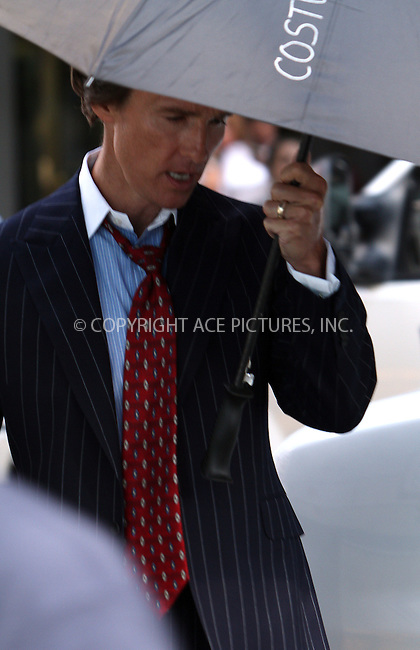 WWW.ACEPIXS.COM . . . . .  ....August 27 2012, New York City....Actor Matthew McConaughey was on the set of the new movie 'The Wolf of Wall Street' on August 27 2012 in New York City....Please byline: Zelig Shaul - ACE PICTURES.... *** ***..Ace Pictures, Inc:  ..Philip Vaughan (212) 243-8787 or (646) 769 0430..e-mail: info@acepixs.com..web: http://www.acepixs.com