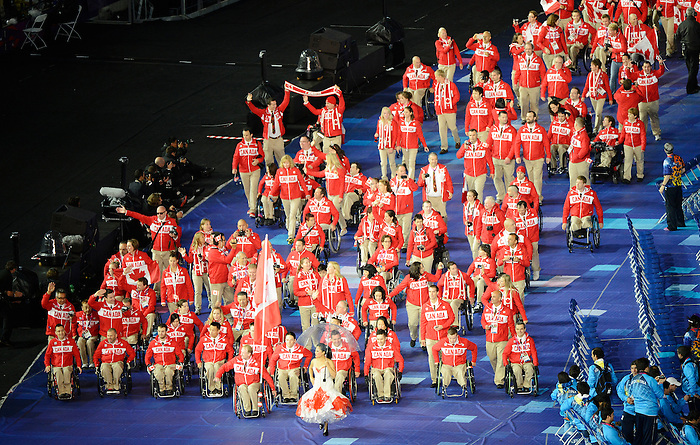 LONDON, ENGLAND 08/29/2012:  Team Canada marches into the Olympic Stadium at the Opening Ceremonies at the London 2012 Paralympic Games. (Photo by Matthew Murnaghan/Canadian Paralympic Committee)