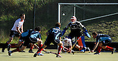 Scottish Hockey League - Western Wildcats V Grange HC at Auchenhowie, Milngavie - in the melee of an over-time penalty corner Western goalkeeper Kris Kane keeps his eye on the ball - though Grange were unable to covert the pc into a goal and the match ended 3-3 - picture by Donald MacLeod 25.09.07 - mobile 07702 319 738 - clanmacleod@btinternet.com - www.donald-macleod.com