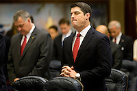 TALLAHASSEE, FLA. 5/3/13-SESSIONEND050313CH-Rep. Steve Crisafulli, R-Merritt Island, joins the House in praying at the start of the final day of the regularly scheduled legislative session May 3, 2013 at the Capitol in Tallahassee...COLIN HACKLEY PHOTO