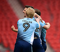 Blackpool's Jordan Flores, centre, celebrates scoring the opening goal from the penalty spot with team-mates Mark Cullen, left, and Tom Aldred<br /> <br /> Photographer Chris Vaughan/CameraSport<br /> <br /> The EFL Sky Bet League Two - Doncaster Rovers v Blackpool - Keepmoat Stadium - Doncaster<br /> <br /> World Copyright &copy; 2017 CameraSport. All rights reserved. 43 Linden Ave. Countesthorpe. Leicester. England. LE8 5PG - Tel: +44 (0) 116 277 4147 - admin@camerasport.com - www.camerasport.com