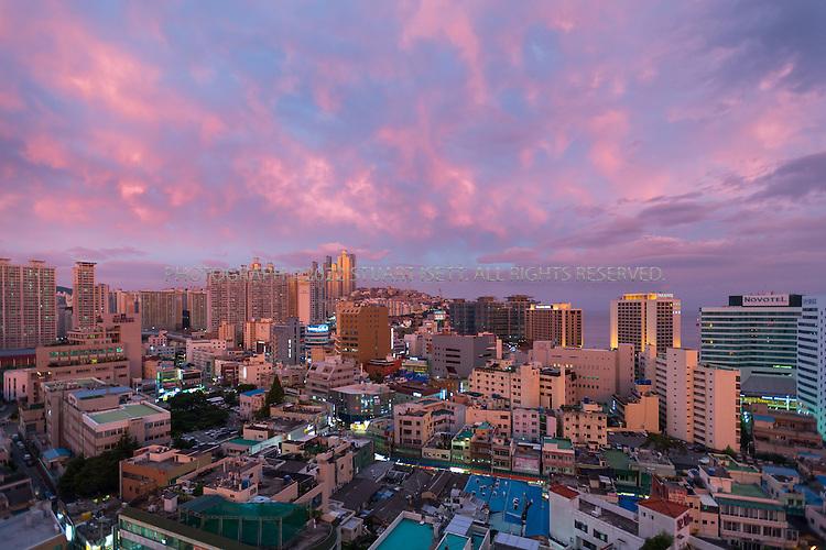 9/3/2013--Busan, South Korea<br /> <br /> Sunset view of Haeundae Beach Busan (Pusan).<br /> <br /> Photograph by Stuart Isett<br /> &copy;2013 Stuart Isett. All rights reserved.