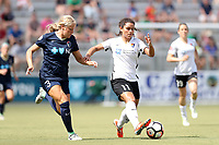 Cary, North Carolina  - Saturday July 01, 2017: Raquel Rodriguez and Makenzy Doniak during a regular season National Women's Soccer League (NWSL) match between the North Carolina Courage and the Sky Blue FC at Sahlen's Stadium at WakeMed Soccer Park.
