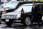 Boston, MA - August 29, 2009 -- US President Barack Obama leaves the Fairmont Hotel in Boston after meeting with Victoria Reggie Kennedy, the widow of US Senator Edward M. Kennedy in Boston Massachusetts USA 29 August 2009. President Obama will deliver the eulogy later in the day for US Senator Edward M. Kennedy during the funeral mass held at the Lady of Perpetual Health Catholic Church.  .Credit: CJ  Gunther - Pool via CNP