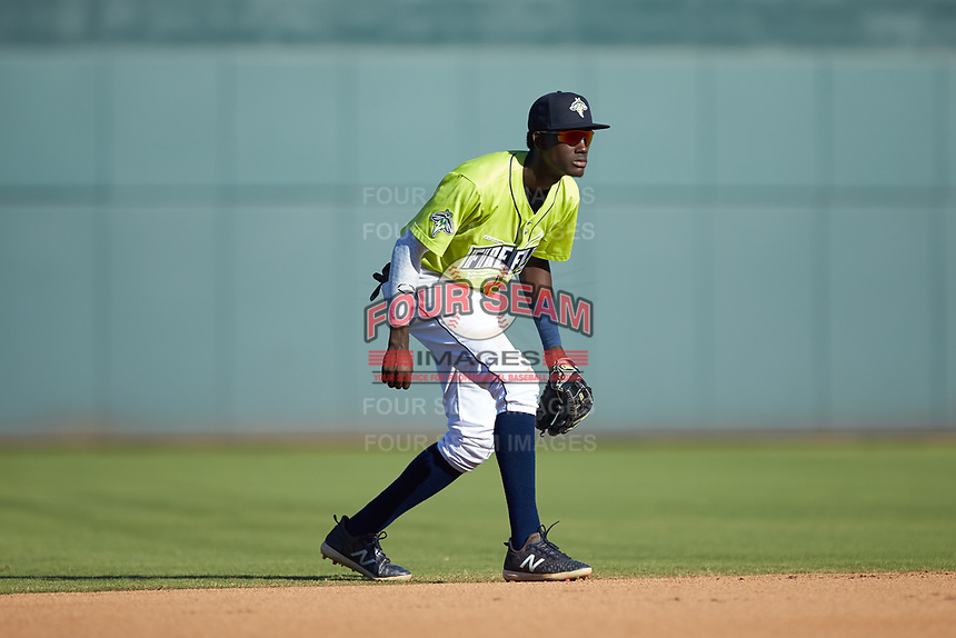 Columbia Fireflies shortstop Ronny Mauricio (2) on defense against the Rome Braves at Segra Park on May 13, 2019 in Columbia, South Carolina. The Fireflies walked-off the Braves 2-1 in game one of a doubleheader. (Brian Westerholt/Four Seam Images)
