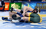 BROOKINGS, SD - FEBRUARY 11: Clay Carlson from South Dakota State University controls Dylan Droegemueller from North Dakota State University during their 141 pound match Friday night at Frost Arena in Brookings, SD. (Photo by Dave Eggen/Inertia)