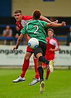 Lincoln City's Jacob Fenton vies for possession with Gainsborough Trinity's Jordan Richard<br /> <br /> Photographer Andrew Vaughan/CameraSport<br /> <br /> Pre-Season Friendly - Gainsborough Trinity v Lincoln City - Saturday 15th July 2017 - The Gainsborough Martin &amp; Co Arena - Gainsborough<br /> <br /> World Copyright &copy; 2017 CameraSport. All rights reserved. 43 Linden Ave. Countesthorpe. Leicester. England. LE8 5PG - Tel: +44 (0) 116 277 4147 - admin@camerasport.com - www.camerasport.com