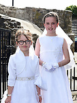 Caoimhe O'Connell and Chloe Cooney from St. Mary's school who received First Holy Communion in St. Mary's church.  Photo:Colin Bell/pressphotos.ie