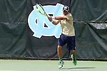 05 April 2015: Notre Dame's Kenneth Sabacinski. The University of North Carolina Tar Heels hosted the University of Notre Dame Fighting Irish at Cone-Kenfield Tennis Center in Chapel Hill, North Carolina in a 2014-15 NCAA Division I Men's Tennis match. UNC won the match 5-2.