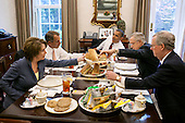 United States President Barack Obama has lunch with members of the Congressional Leadership in the Oval Office Private Dining Room, May 16, 2012. The President served hoagies from Taylor Gourmet, which he purchased after a small business roundtable earlier in the day. Seated, clockwise from the President, are: U.S. Senate Majority Leader Harry Reid (Democrat of Nevada), U.S. Senate Republican Leader Mitch McConnell (Republican of Kentucky), U.S. House Minority Leader Nancy Pelosi (Democrat of California), and U.S. House Speaker John Boehner (Republican of Ohio)..Mandatory Credit: Pete Souza - White House via CNP